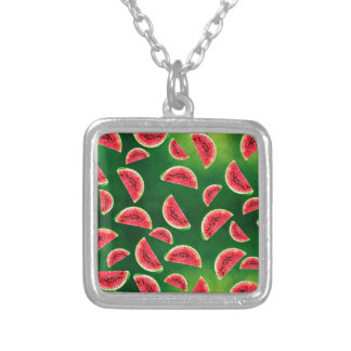 half watermelon illustration in triangle pattern silver plated necklace