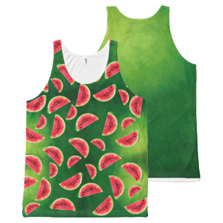half watermelon with triangle pattern All-Over-Print tank top