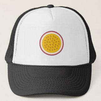 half yellow fruit trucker hat