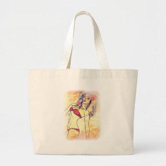 Halftone bikini girl with flower large tote bag
