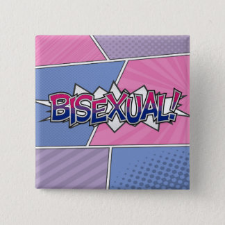 Halftone Bisexual Typography 2 Inch Square Button