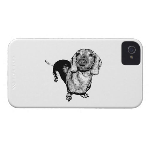 Halftone Black and White Photo Dachsund Doxie Blackberry Bold Cases