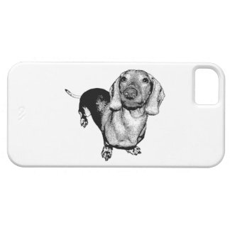 Halftone Black and White Photo Dachsund Doxie iPhone 5 Case