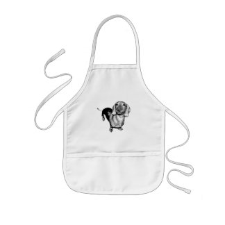 Halftone Black and White Photo Dachsund Doxie Kids Apron