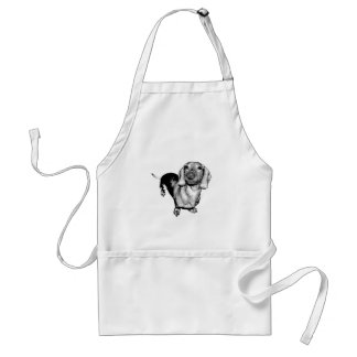 Halftone Black and White Photo Dachsund Doxie Standard Apron