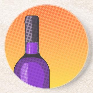 halftone comic wine glass and bottle coaster