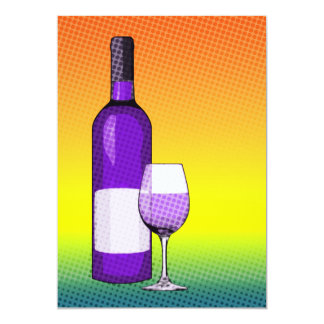 "halftone comic wine glass and bottle 5"" x 7"" invitation card"