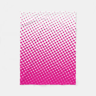Halftone Pop Art Dot Pattern Pink and White Fleece Blanket
