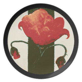 Halftone Red Painted Poppy Circle Dinner Plates