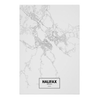 Halifax, Nova Scotia (black on white) Poster