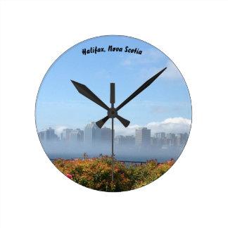 Halifax, Nova Scotia fog waterfront souvenir clock