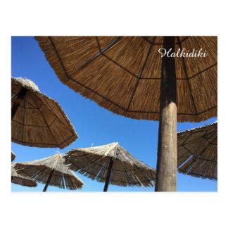 Halkidiki Beach Umbrellas Photo Postcard