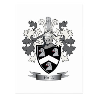 Hall Family Crest Coat of Arms Postcard