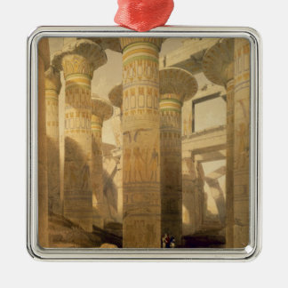 """Hall of Columns, Karnak, from """"Egypt and Nubia"""", V Silver-Colored Square Ornament"""