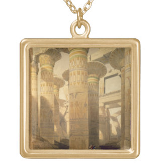 """Hall of Columns, Karnak, from """"Egypt and Nubia"""", V Square Pendant Necklace"""