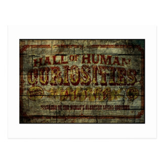 Hall of Human Curiosities Vintage Banner Postcard