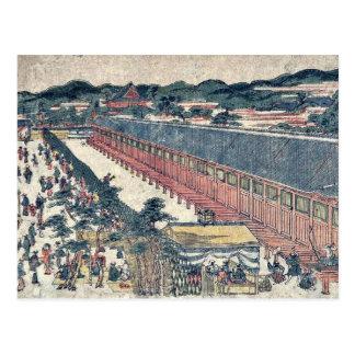 Hall of thirty three bays by Utagawa,Toyoharu Postcard
