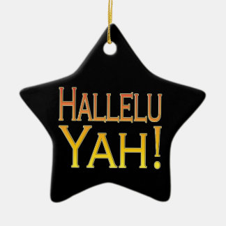 Hallelu Yah! (gold) Ceramic Star Ornament