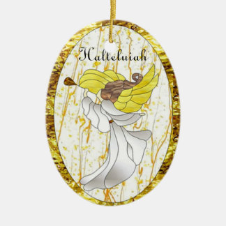 Halleluiah Angel in Stained Glass Ceramic Ornament