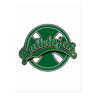 Hallelujah cross in green postcard