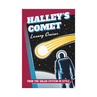 Halleys Comet Luxury Cruises Retro Sci-Fi Canvas Print