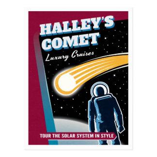 Halleys Comet Space Travel Illustration Postcard