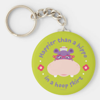Hallie -Happier Than a Hippo in a Hoop Skirt Basic Round Button Keychain