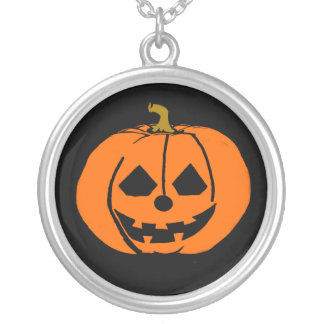 HallLarge oween Large Silver Plated Round Necklace