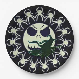 Hallow Eves Moon Paper Plate