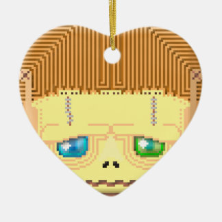 Hallow frankie ceramic heart ornament