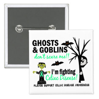 Halloween 1 Celiac Disease Warrior 2 Inch Square Button