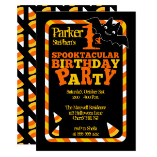 Halloween 1st Spooktacular Birthday Party Card