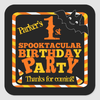 Halloween 1st Spooktacular Birthday Party Square Sticker