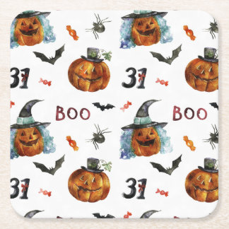 Halloween - 31 Pumpkins  & Bats Watercolors Square Paper Coaster