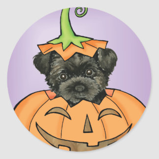 Halloween Affenpinscher Round Sticker