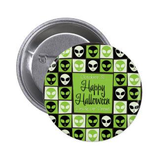Halloween alien mosaic 2 inch round button