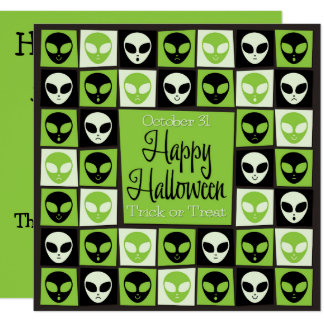 Halloween alien mosaic card