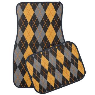 Halloween Argyle Orange and Black Pattern Car Mat
