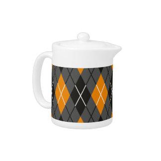Halloween Argyle Orange and Grey Pattern