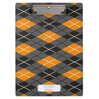 Halloween Argyle Orange and Grey Pattern Clipboard