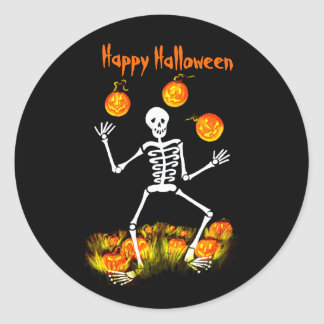 Halloween Art Stickers, skeleton,Jack-O-Lanterns Classic Round Sticker