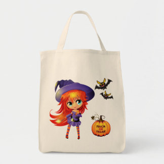 Halloween Bag-Girl Witch Tote Bag