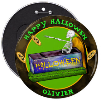 HALLOWEEN BANK CARTOON Colossal, 6 Inch 6 Inch Round Button