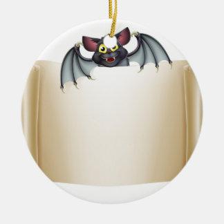 Halloween Bat Banner Ceramic Ornament