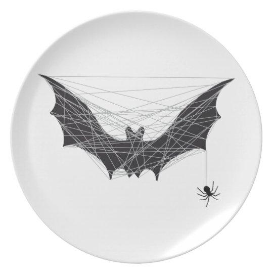 Halloween bat design with spider net plate