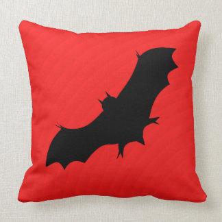 Halloween bat in red throw pillow