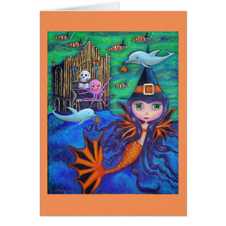 Halloween Bat Mermaid Witch Dolphins Octopus Organ Card