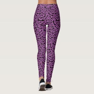 Halloween bat pattern leggings - purple and black