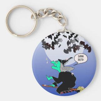 Halloween bat poop with witch basic round button keychain