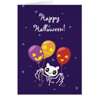 Halloween Bat Skeleton Flying With Balloons Card